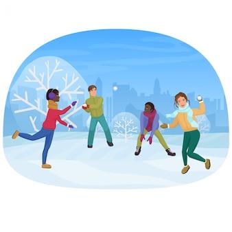 Die gruppe von freunden, welche die schneebälle außerhalb der vektorillustration spielen.
