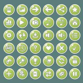 Die gui-schaltflächensymbole, die für spielschnittstellen eingestellt werden, färben grün.