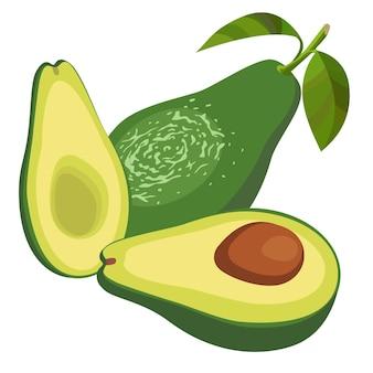 Die hälfte der avocado auf weiß isoliert