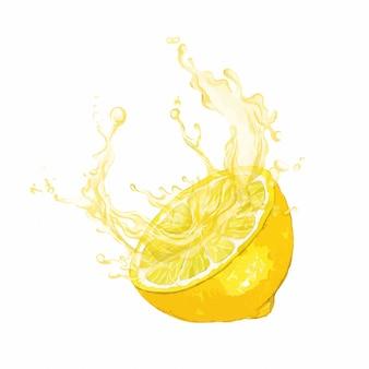 Die hälfte der zitronenfrucht mit einem schuss saft