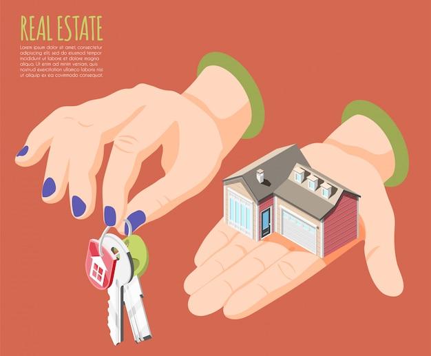 Die hände der großen frauen des isometrischen hintergrundes der vergrößerten realität der immobilien mit schlüsselillustration