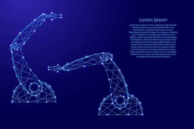 Die hände der manipulatoren des roboters aus futuristischen polygonalen blauen linien und leuchtenden sternen vorlage
