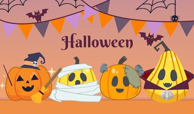 Die halloween-party, eine gruppe von kürbissen, trägt ein fantasy-kostüm im flachen stil. abbildung