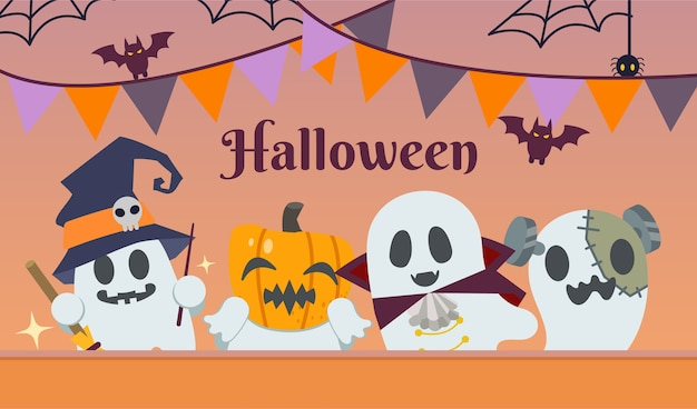 Die halloween-party für die freundesgruppe der geister trägt ein fantasy-kostüm im flachen stil. illustration