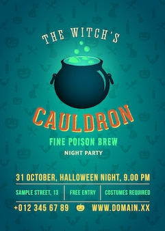 Die halloween-party mit kochendem und leuchtendem hexenkessel