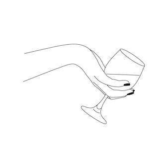 Die hand der frau, die weinglas in einem minimalen linearen stil hält. vector fashion illustration des weiblichen körpers in einem trendigen stil. bildende kunst für poster, tattoos, shop- und bar-logos, social media post