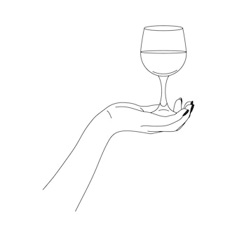Die hand der frau hält ein glas wein im minimalistischen stil. vector fashion illustration des weiblichen körpers in einem trendigen linearen stil. bildende kunst für poster, tattoos, laden- und bar-logos
