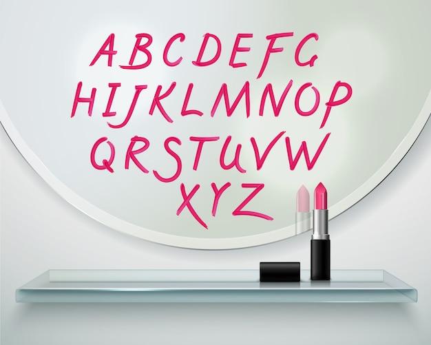 Die hand, die auf rotes lippenstiftalphabet des runden spiegels gezeichnet wird, beschriftet realistische zusammensetzung