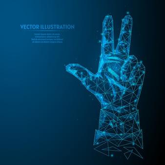 Die hand eines jungen geschäftsmannes zeigt drei finger. das konzept von geschäft, analyse, berechnungen, prognosen. geschäftsinnovation. 3d low poly wireframe modell illustration.