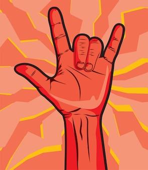 Die hand eines mannes, die das rock-and-rollzeichen gibt