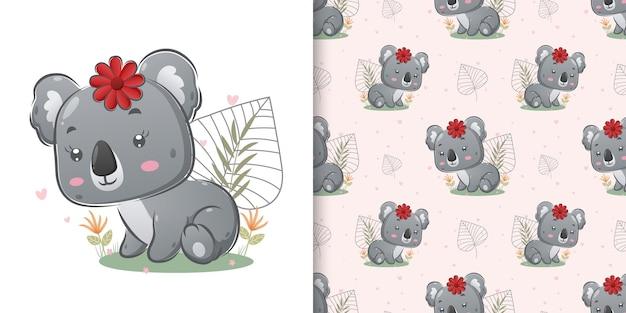 Die hand gezeichnet vom farbigen koala mit den niedlichen blumen, die auf dem garten der illustration sitzen