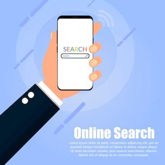 Die hand hält das telefon mit der auf dem bildschirm angezeigten suchmaschine.