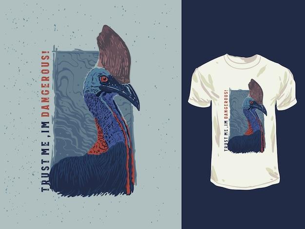 Die handgezeichnete illustration des exotischen kasuarvogels