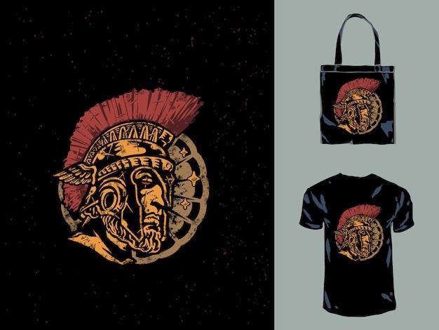 Die handgezeichnete illustration des spartanischen kopfes leonidas