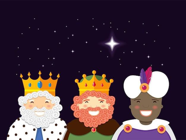 Die heiligen drei könige mit weihnachtsstern.