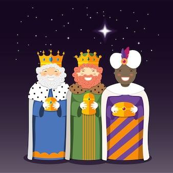 Die heiligen drei könige mit weihnachtsstern