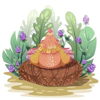 Die henne inkubiert die eier im nest.