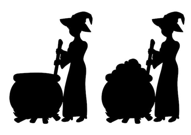 Die hexe braut einen trank in einem kessel schwarze silhouette