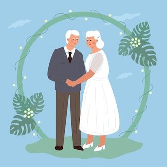 Die hochzeit eines süßen älteren paares. ältere braut und bräutigam, die händchen halten. trendige flache vektorillustration.