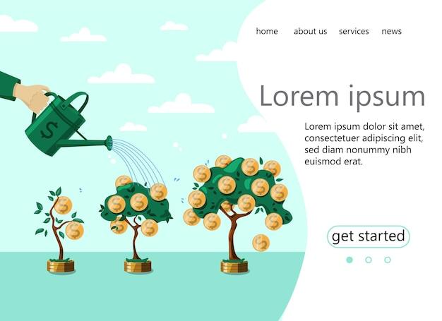 Die homepage einer website mit einem anstieg der bareinkünfte business deposit