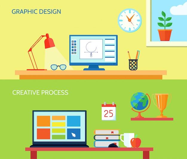 Die horizontale fahne des grafikdesignerarbeitsplatzes, die mit kreativen prozessinnenelementen eingestellt wurde, lokalisierte vektorillustration