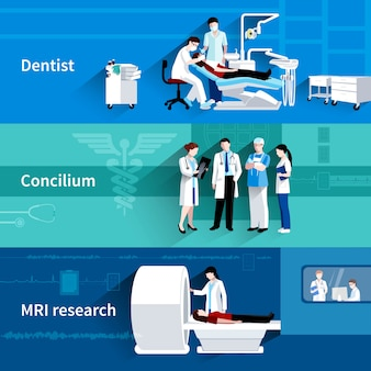 Die horizontalen fahnen des professionellen conciliums 3 der medizinischen behandlung, die mit zahnarzt und mri eingestellt wurden, scannen zusammenfassung lokalisierte vektorillustration