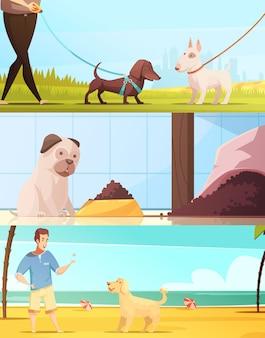 Die horizontalen hundefahnen, die mit gehender symbolkarikatur eingestellt wurden, lokalisierten vektorillustration