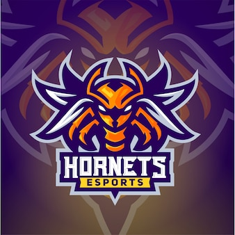 Die hornissenbienen-esport-logoschablone