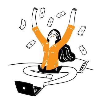Die idee, ein erfolgreiches online-geschäft und reichtum zu führen, hand zeichnen vektorillustrations-doodle-stil