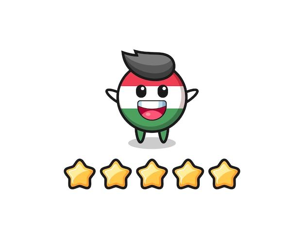 Die illustration der besten bewertung des kunden, süßer charakter der ungarischen flagge mit 5 sternen, süßes design für t-shirt, aufkleber, logo-element