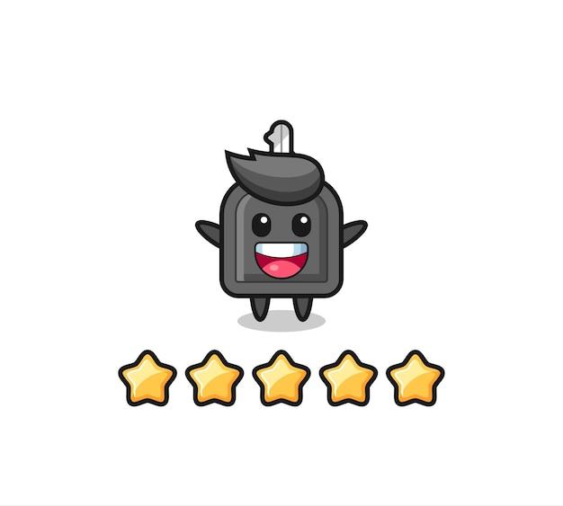 Die illustration der besten bewertung des kunden, süßer charakter des autoschlüssels mit 5 sternen, süßes design für t-shirt, aufkleber, logo-element