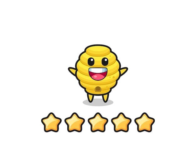 Die illustration der besten bewertung des kunden, süßer charakter des bienenstocks mit 5 sternen, süßes design