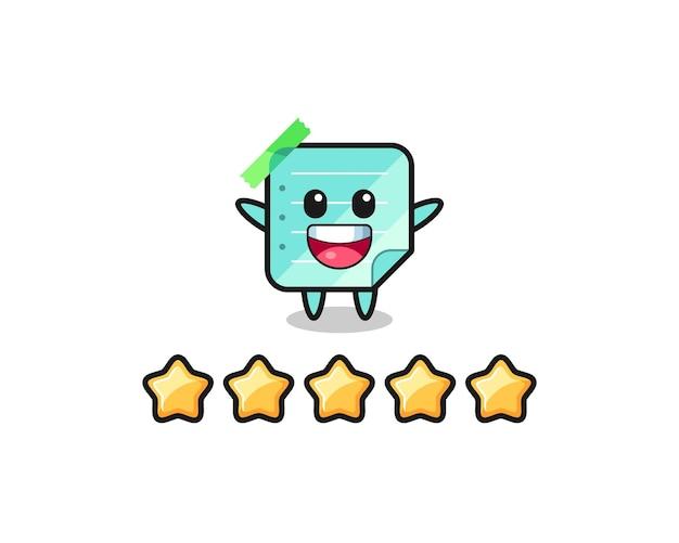Die illustration der besten kundenbewertung, blauer haftnotizen süßer charakter mit 5 sternen, süßes design für t-shirt, aufkleber, logo-element