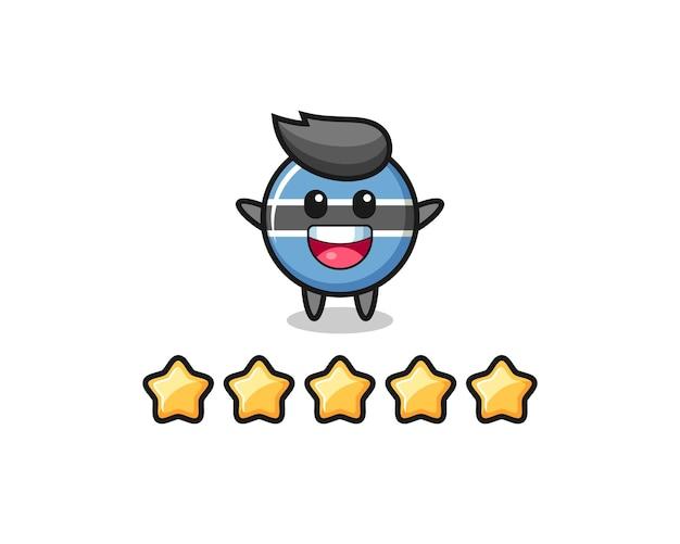 Die illustration der besten kundenbewertung, botswana-flaggenabzeichen süßer charakter mit 5 sternen, süßes stildesign für t-shirt, aufkleber, logo-element