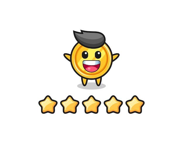 Die illustration der besten kundenbewertung, niedlicher medaillencharakter mit 5 sternen, niedliches design für t-shirt, aufkleber, logo-element