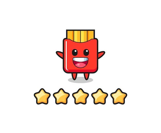 Die illustration der besten kundenbewertung, pommes-frites-süßer charakter mit 5 sternen, süßes design für t-shirt, aufkleber, logo-element