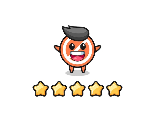 Die illustration der besten kundenbewertung, stoppschild süßer charakter mit 5 sternen, süßes design für t-shirt, aufkleber, logo-element