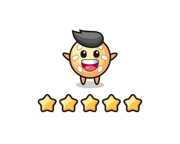 Die illustration der besten kundenbewertung, süßer charakter aus sesamkugel mit 5 sternen, süßes design für t-shirt, aufkleber, logo-element