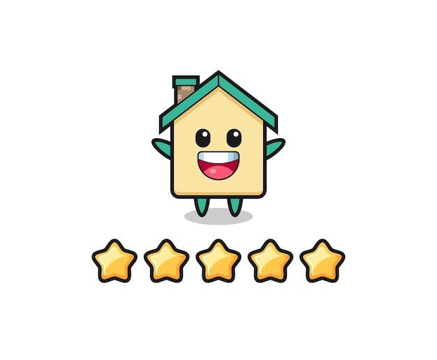 Die illustration der besten kundenbewertung, süßer charakter des hauses mit 5 sternen, süßes design