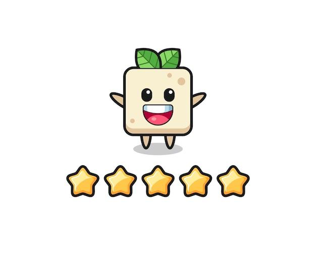Die illustration der besten kundenbewertung, süßer tofu-charakter mit 5 sternen, süßes design für t-shirt, aufkleber, logo-element