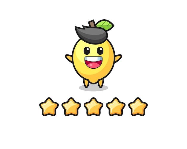 Die illustration der besten kundenbewertung, süßer zitronencharakter mit 5 sternen, süßes design für t-shirt, aufkleber, logo-element logo