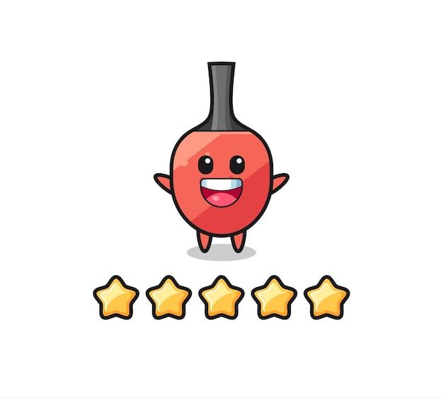 Die illustration der besten kundenbewertung, tischtennisschläger süßer charakter mit 5 sternen, süßes design für t-shirt, aufkleber, logoelement