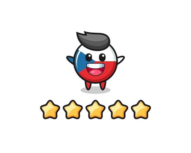 Die illustration der besten kundenbewertung, tschechischer flaggenabzeichen süßer charakter mit 5 sternen, süßes design für t-shirt, aufkleber, logo-element