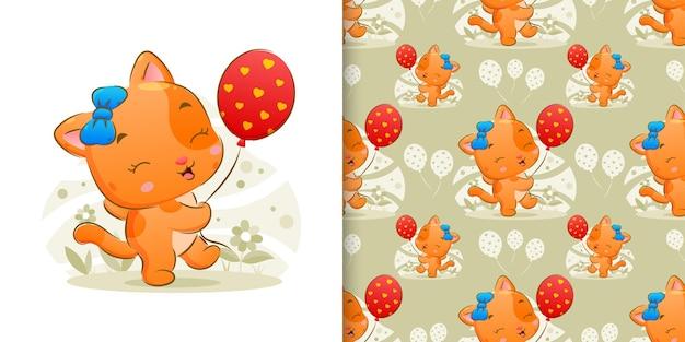 Die illustration der glücklichen katze hält die bunten luftballons auf ihrer hand