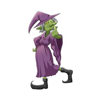 Die illustration der grünen elfenhexe mit dem hexerkostüm und den langen schuhen