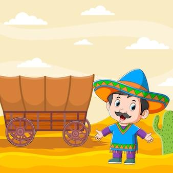 Die illustration der mexikanischen jungen männer, die nahe dem braunen wagen stehen