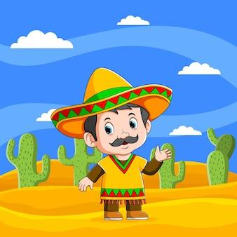 Die illustration der mexikanischen männer, die unter dem schönen himmel winken