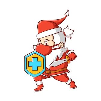 Die illustration der santa-klausel beim halten des schildes und des schwertes, um den körper vor dem virus zu schützen