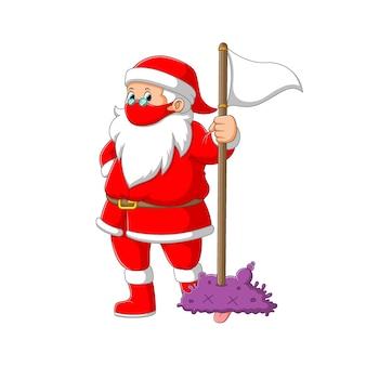 Die illustration der santa-klausel unter verwendung der roten maske, die die weiße flagge hält, um das koronavirus abzutöten