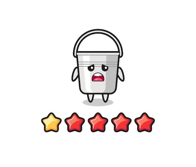 Die illustration der schlechten bewertung des kunden, niedlicher charakter aus metalleimer mit 1 stern, süßes design für t-shirt, aufkleber, logo-element